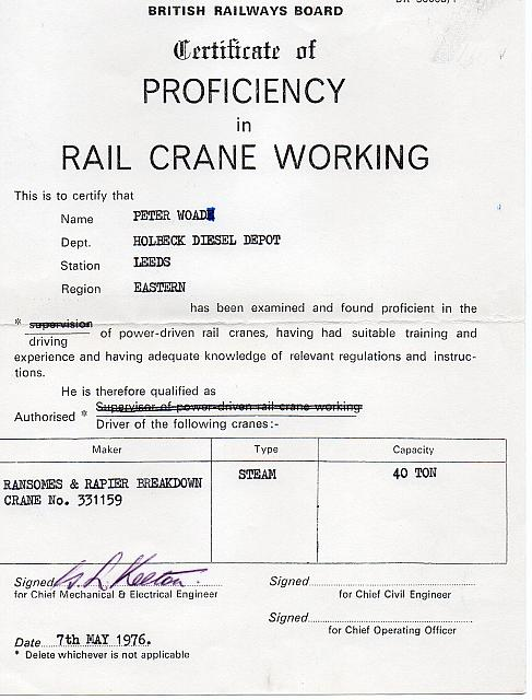 Peter Woad Certificate for driving 331159