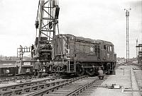 Re-railing a diesel loco at Dringhouses Yard, York, 11.5.1973