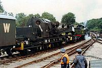 95215, with GWR Tool Van No. 92, being shunted by SR 'U' class No. 1618 at Horsted Keynes, September 1988.