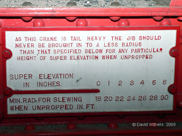 Ransomes & Rapier 45-tonner tail heavy warning plate